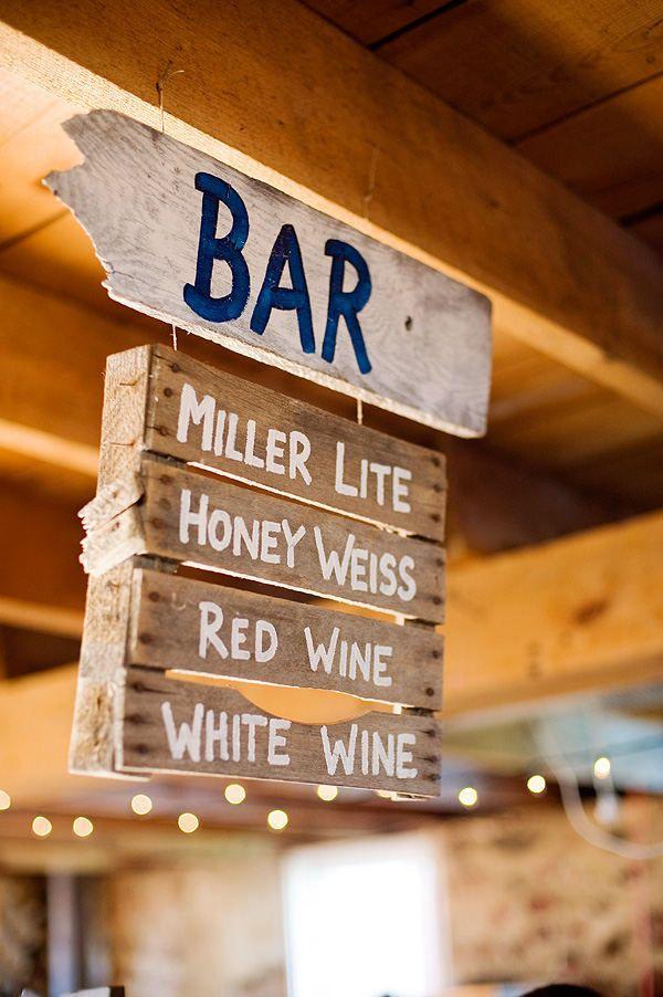 Wedding bar menu- use for all my pallet wood!!!
