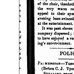 """James Lush was brought before the Palmerston Bench, charged with having stolen, two red blankets, one white ditto, and one counterpane, the property of George Stanway, Boarding-house keeper, Port Albert. Gippsland Guardian, 2 Mar 1866, p. 3, 'Police'."