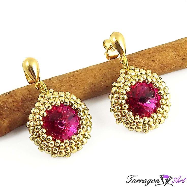 Kolczyki Beaded Swarovski Elements - Fuchsia - Beaded / Kolczyki - Tarragon Art - stylowa biżuteria artystyczna