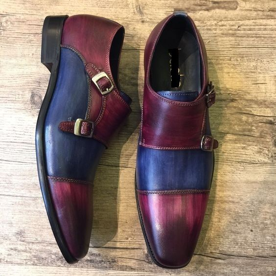 8cbd527b71521 Handmade Men Blue and Maroon Shoes,Double Monk Strap Shoes, Men Formal Monk  Shoe - Dress/Formal