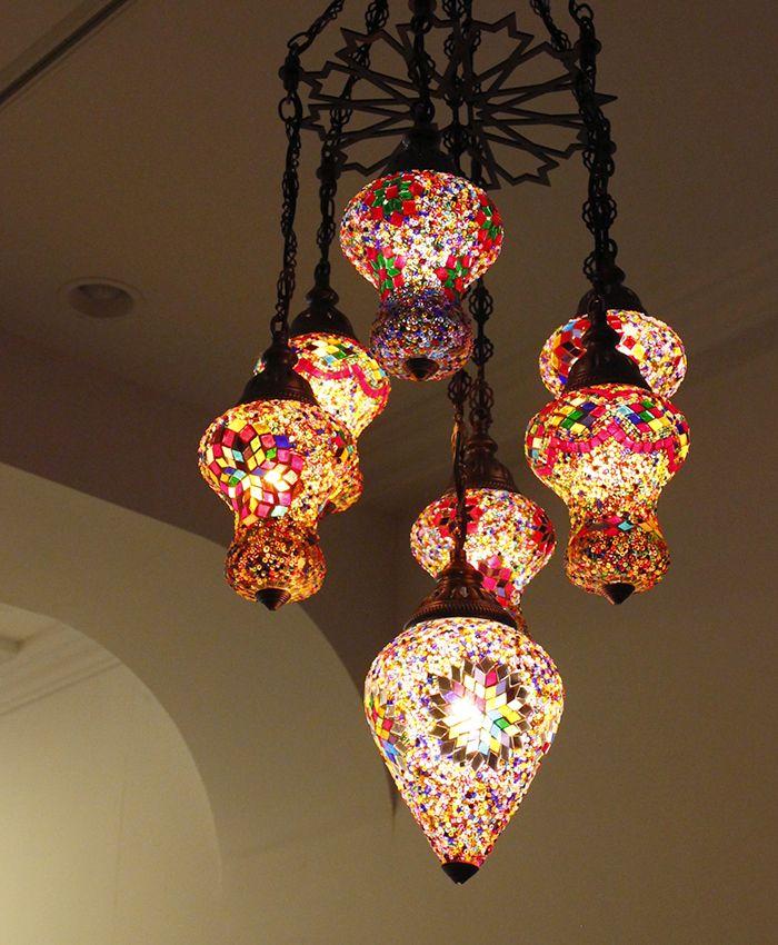 トルコランプ/シャンデリア・モザイクランプ<店舗照明>7灯アルムット幾何学モチーフのフレーム10W×7灯