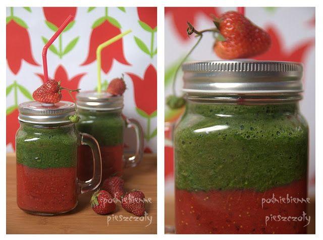 Zielone koktajle: truskawki + błonnik witalny + cytryna i szpinak + jarmuż + cytryna + pokrzywa + młody jęczmień