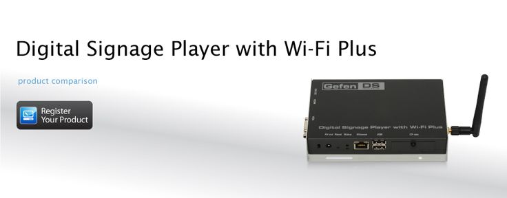 The Digital Signage Player with Wi-Fi is the industry's first media appliance to combine the power of HTML5 with the interoperability of SMIL. It offers HD Digital Signage with Wi-Fi integration, pre-loaded template-based content management and HTML5 compatibility. In addition, the WiFi Plus provides a seamless way to integrate live video using a composite input with audio. With this feature, users can overlay content and separate the video into four quadrants for more complex systems.