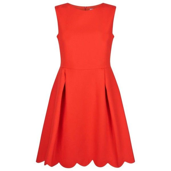 Claudie Pierlot  Ravissante Scalloped Dress (£209) ❤ liked on Polyvore featuring dresses, red dress, scallop trim dress, red a line dress, a-line dresses and scalloped dress