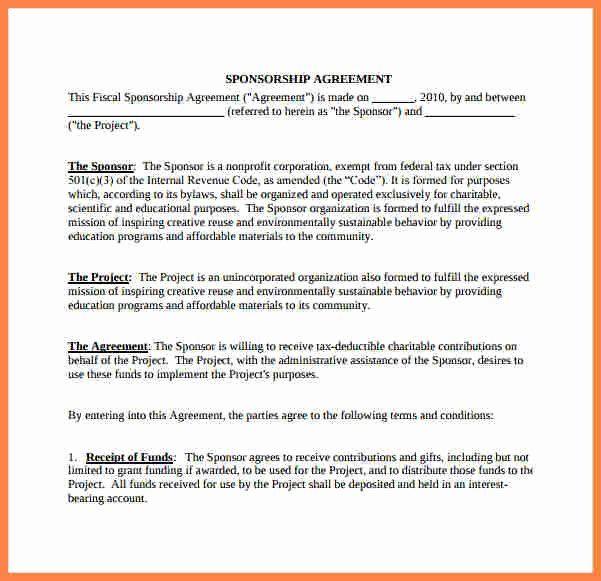 Simple Sponsorship Agreement Template Fresh 9 Non Profit Sponsorship Agreement Template Sponsorship Contract Template Agreement