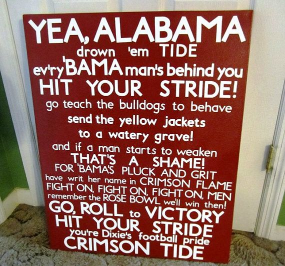 University of Alabama Fight Song Subway Art Large by SweetBegonia