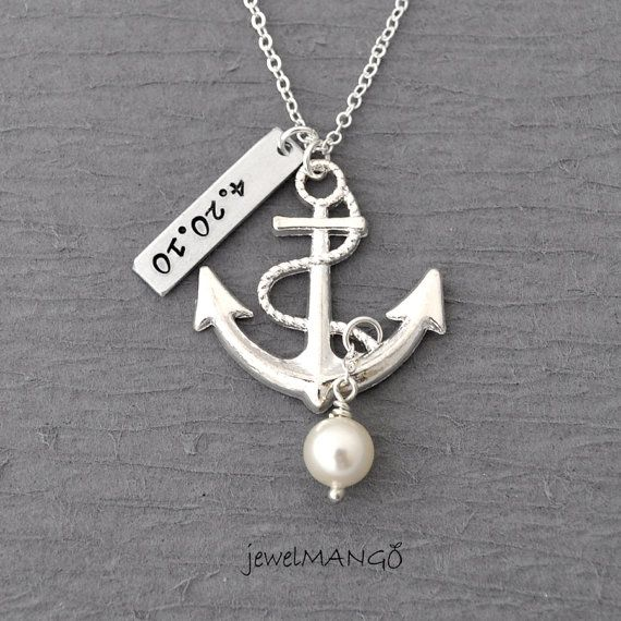 Personalized antique anchor necklace, keepsake necklace, hand stamping, special day, anniversary, wedding date, engagement, nautical
