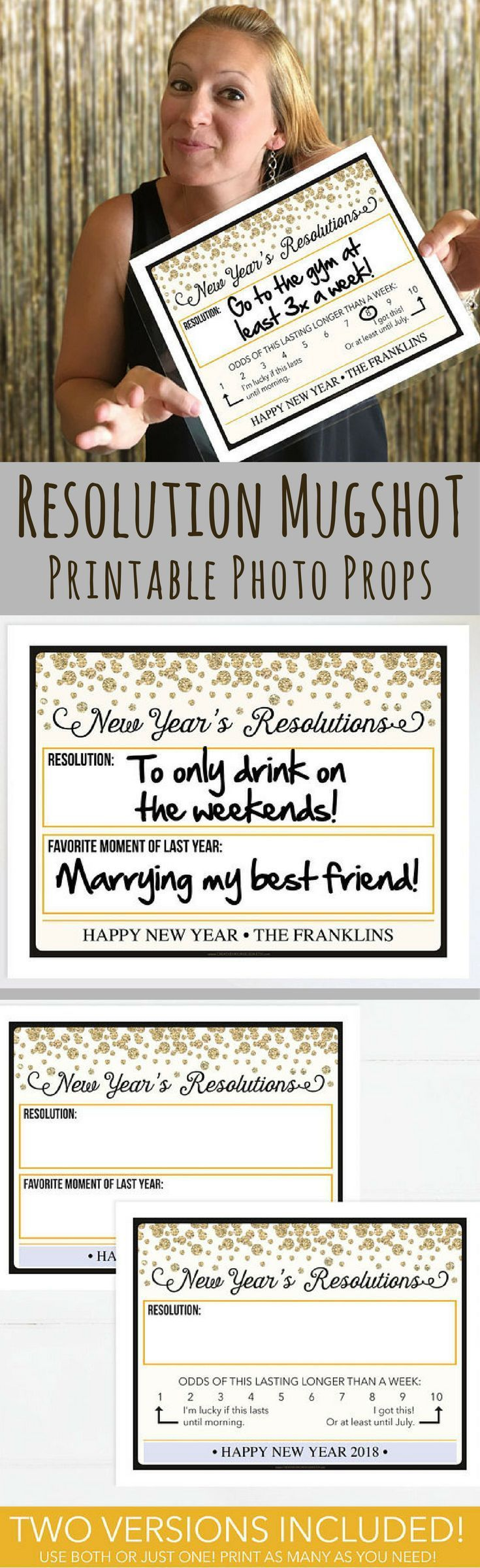 Printable Photo Booth Props - New Year's Eve Party Ideas, 2018 New Year's Eve Mug Shot, New Year's Resolutions, New Years Eve Decorations, Photo Prop, Instant Download, Printable New Years Eve Decor, NYE 2018, DIY New Year's Eve Decor, DIY New Year's Party Ideas, Photo Wall Backdrop, Picture Booth Prop, New Years Eve 2018 Ideas, Christmas Party Games Ideas, Happy New Year, New Year's Resolutions Ideas, NYE Party Decor #ad