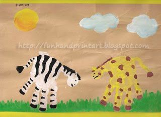 To make the Handprint Zebra: Place a white handprint on a colored piece of paper. Under the thumb, add a white (or black) half-circle to create the Zebra's mouth/nose area. When it dries, paint black stripes, tail, facial features, and black heels under the fingerprints. To make the Handprint Giraffe: Place a yellow handprint …
