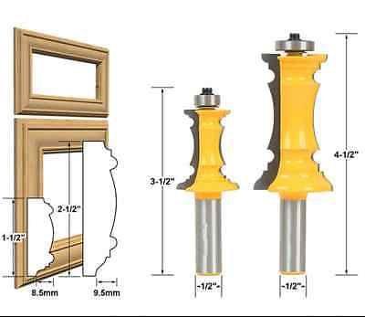 """2 Bit Raised Panel Cabinet Door Router Bit Set - 1/2"""" Shank - 0001"""