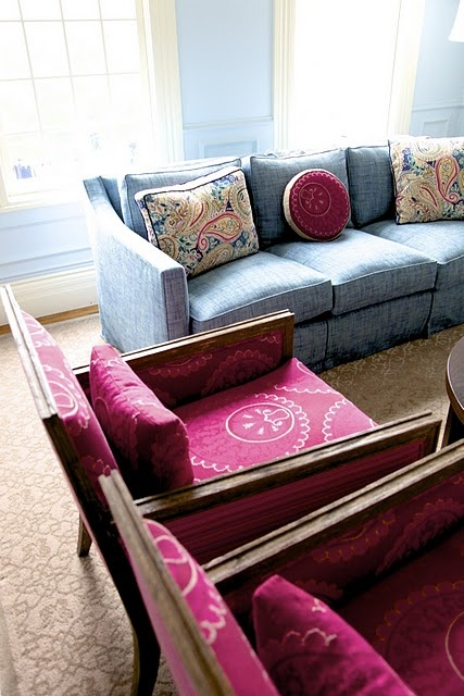 Charming Blue Sofa And Fuchsia Chairs And Accents For Family Room Amazing Pictures