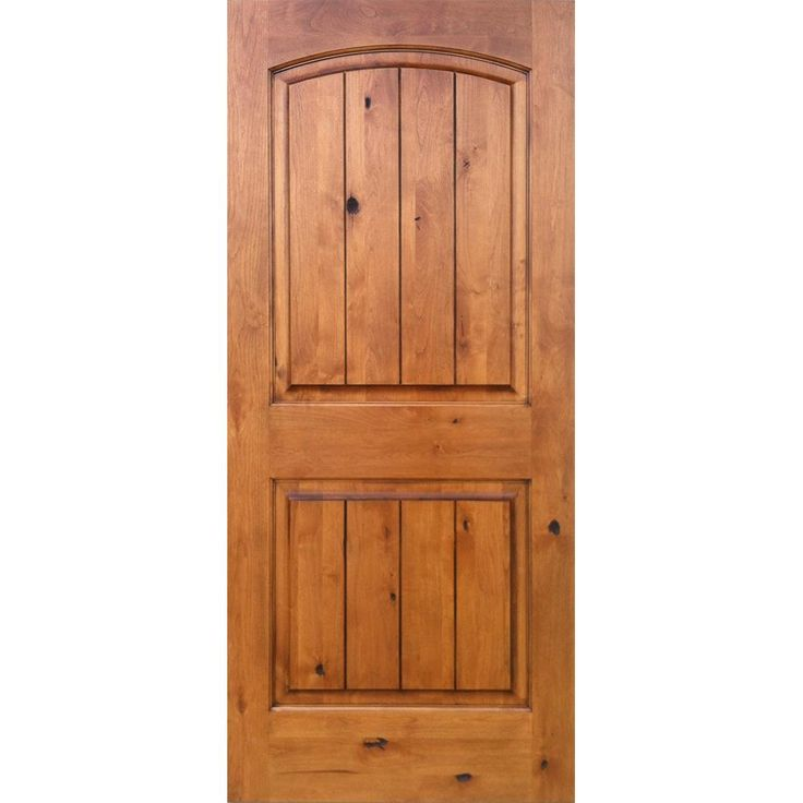 Krosswood Doors 30 in. x 80 in. Knotty Alder 2-Panel Top Rail Arch V-Groove Solid Right-Hand Wood Single Prehung Interior Door, Unfinished