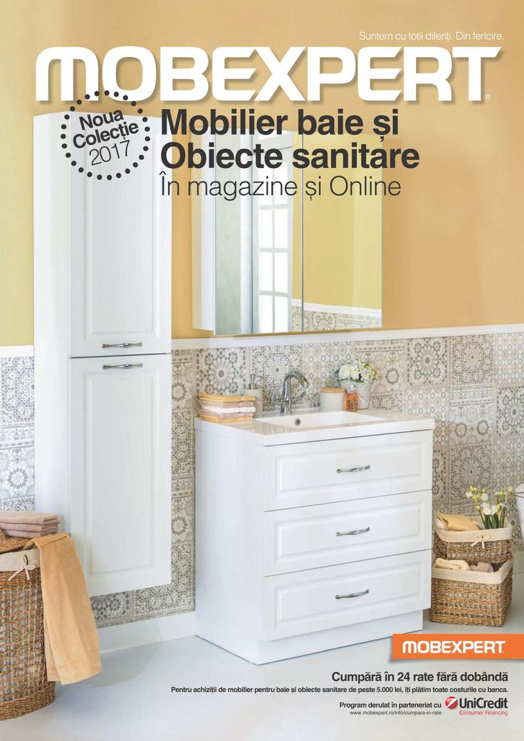 Catalog Mobexpert Mobilier Baie si Obiecte Sanitare 2017-2018! Oferte: Sensa corp lavoar 1 sertar 709 lei; David corp suspendat cu oglinda 120x18x80