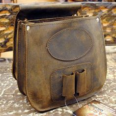 Hilason Genuine Thick Leather Shooting Shotgun Shell Bag Ammo Bag Pouch - Brown
