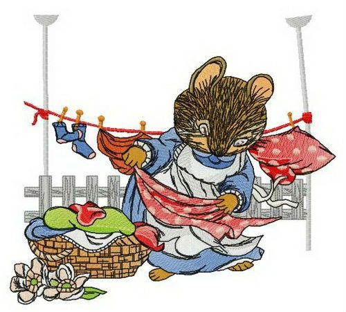 Mouse laundry machine embroidery design