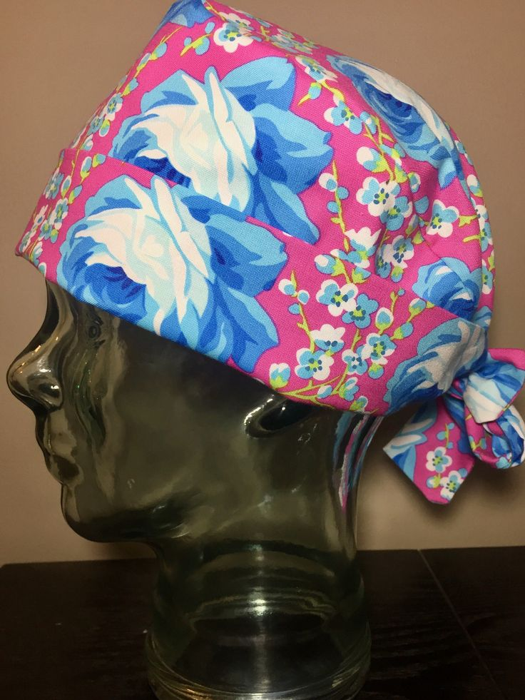 Modern Blue Roses on Pink Surgical Scrub Hats, Beautiful Women's Floral Pixie Scrub Caps, Custom Caps Company by CustomCapsCompany on Etsy