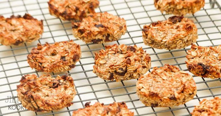 Gezond eten voor onderweg: banaan-kokos koekjes