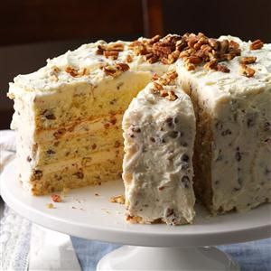 Butter Pecan Layer Cake Recipe -Pecans and butter give this cake the same irresistible flavor as the popular ice cream. —Becky Miller, Tallahassee, Florida