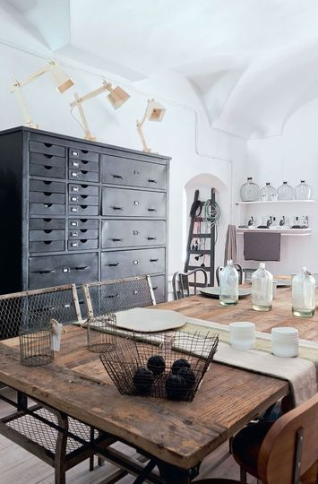 industrial chic design with natural woods and mixed elements