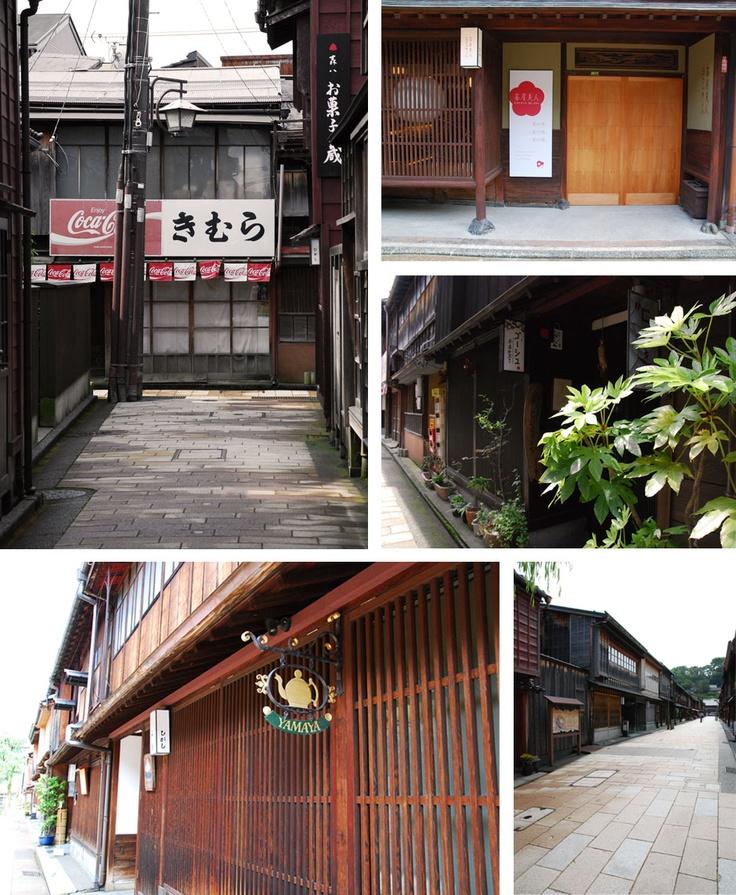 Main and back streets of Kanazawa old town.