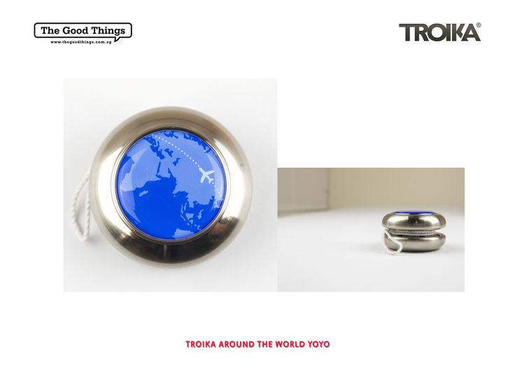TROIKA AROUND THE WORLD YOYO.    Bring him back to the days where every boy knows a trick or two with their yoyo.    Yoyo for managers/executives, metal casting, satined, packaging enclosed with transparent sleeve.    #tgt #thegoodthings #troika