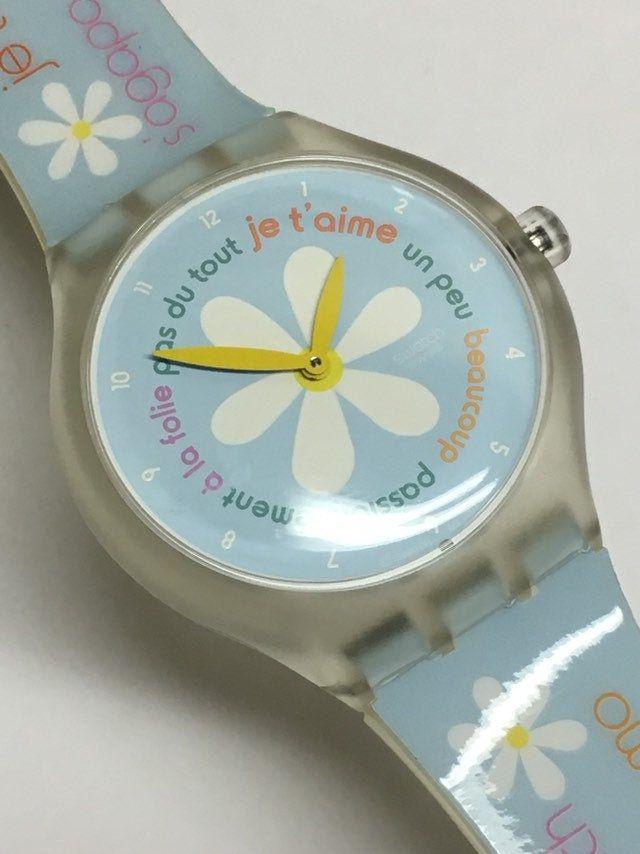 Touch Swatch Watch French Lover Stgk100 Clear Blue Yellow Flower Retro Game Summer Gift By Thatissofun Swatch Watch Minimalist Watch Women Vintage Swatch Watch