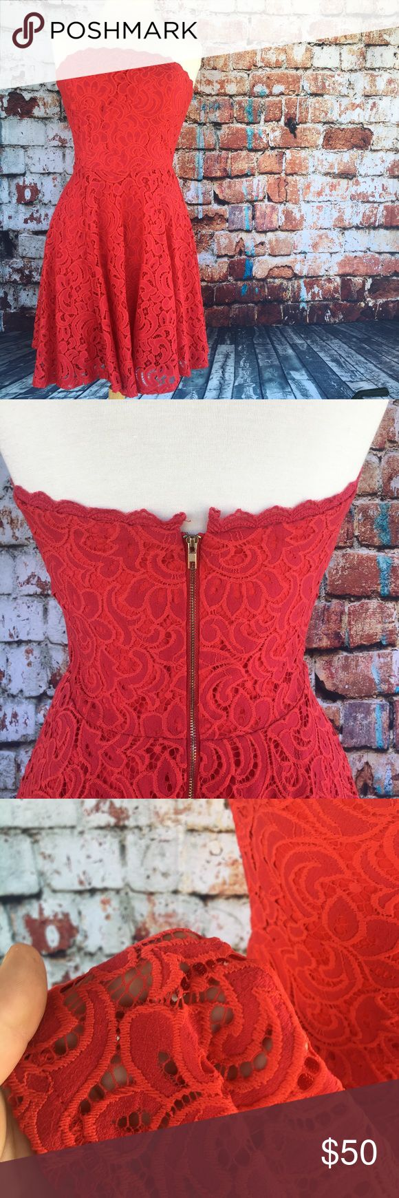 🔥Strapless lace dress🔥 Gorgeous coral red lace dress, features padded cups, a half zipper, and a perfect flattering fit! Runs a tiny bit small, probably perfect for someone who is between a medium and large. jun & ivy Dresses Strapless