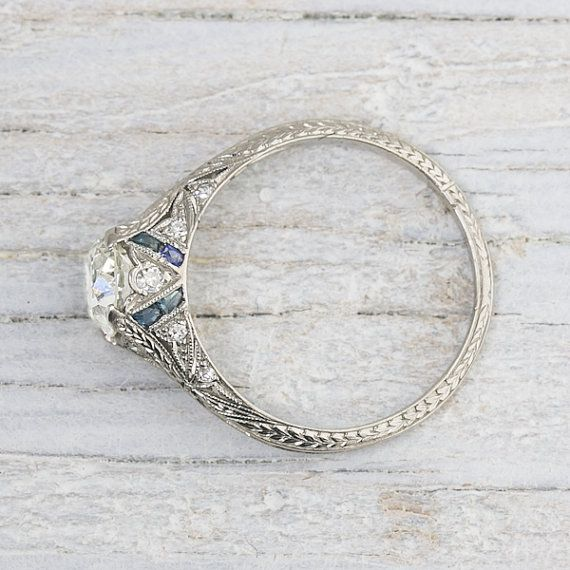 1.03 Carat Vintage Sapphire & Diamond by ErstwhileJewelry on Etsy
