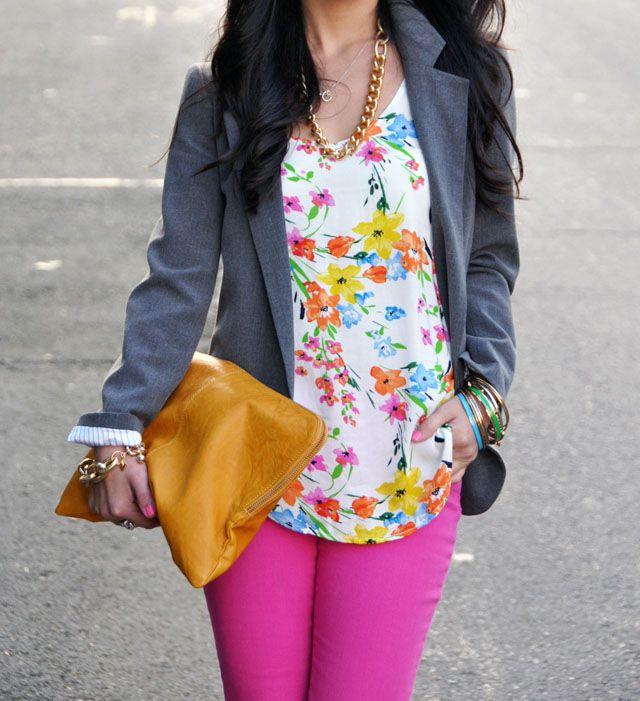 fab florals.: Floral Tops, Floral Prints, Floral Outfits, Colors Jeans, Spring Colors, Hot Pink Pants Outfits, Bright Pink Pants Outfits, Pink Jeans, Bright Colors