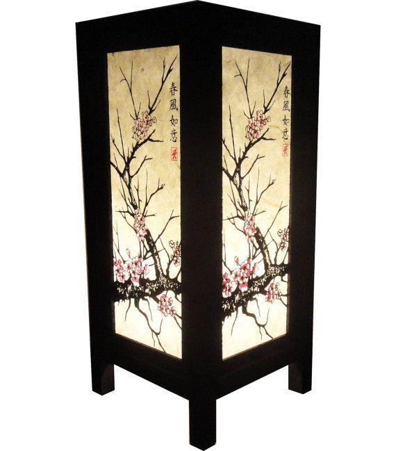 Asian Oriental Beach Coastal Tropical Lamp Art Bedside Floor Etsy Bedside Table Lamps Wood Paper Light Shades Oriental Lamp