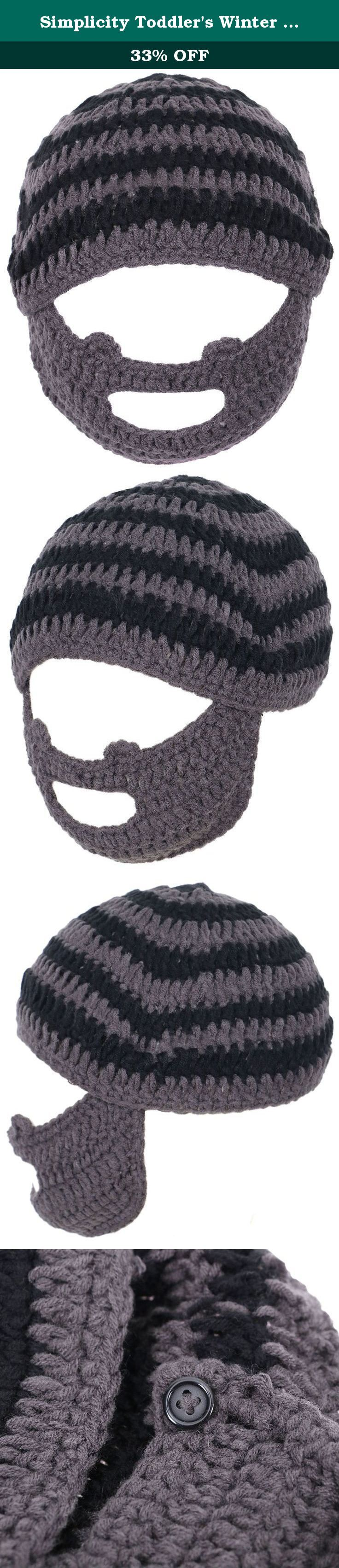"""Simplicity Toddler's Winter Crochet Bearded Beanie Hats Caps, Gray/Black Stripe. Toddler's classic winter beanie with a fun detachable mustache & beard face warmer. Designed in hand knitted acrylic for maximum It is warmth and flexibility to keep your little one cozy in this winter season. Material: 100% Acrylic Size: Inner Diameter 7.5"""" Color: As shown in pictures Package Includes: 1 x Beanie Hat w/ Beard ."""