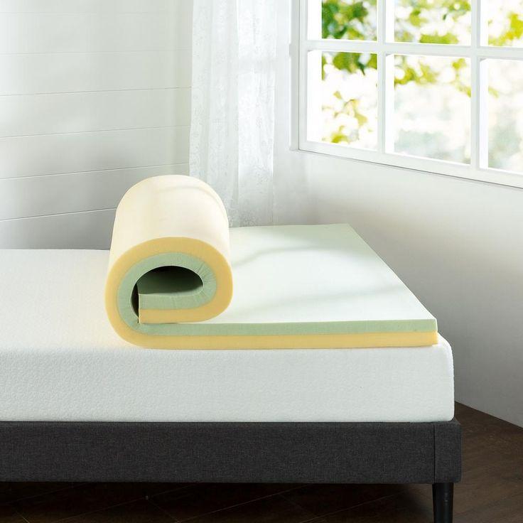 3 in. Green Tea Queen Short Memory Foam Mattress Topper, Green & Yellow