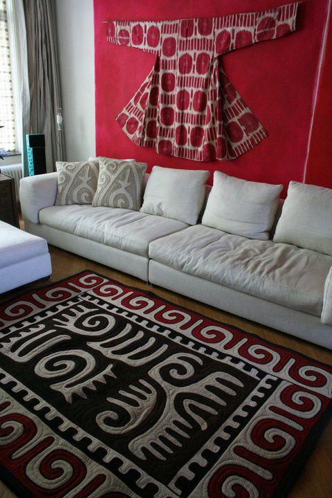 Uzbek Ikat antique chapan abd tribal felt rug