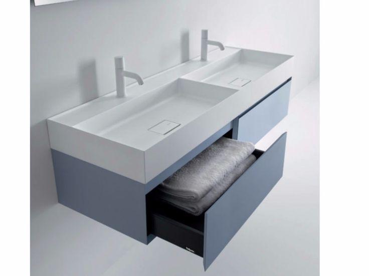 mueble bajo lavabo doble suspendido con cajones quattrozero mueble bajo lavabo doble