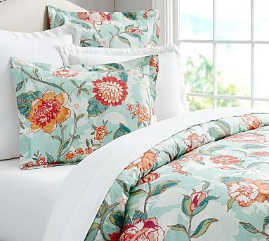Mariel Floral Duvet Cover & Sham #potterybarn   (love the fabric pattern and also like the colors for accent color ideas and possibly for the kitchen curtain, pillows)