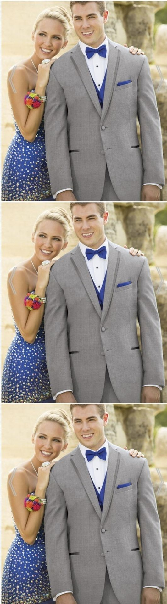 Fashionable Two Button Light Grey Groom Tuxedos Groomsmen Men's Wedding Prom Suits Custom Made (Jacket+Pants+Vest+Tie)