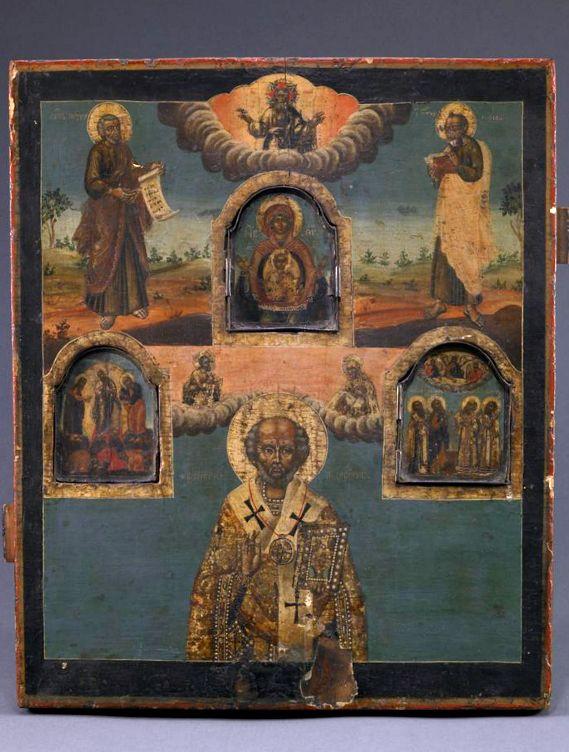 Novgorod School Saint Nicholas Russia (c. 1780s) Tempera on Wood and Metal, 39.1 x 33 cm. Saint Louis Art Museum ArtStor/[x]