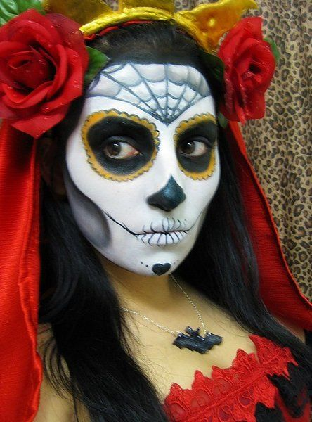dia de los muertos makeup by veilofthenight artisan crafts costumery costumes other close up of the makeup done by veilofthenight - Where Can I Get Halloween Makeup Done