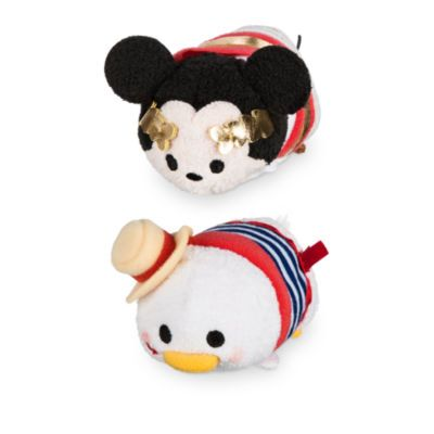 It looks like Mickey's and Donald's travels have brought them to Rome. These Tsum Tsum mini soft toys show Mickey as an ancient emperor while Donald wears a 3D hat with an embroidered rose in his beak.