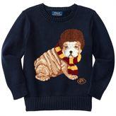 Polo Ralph Lauren Boy Long Sleeved Knit Sweater Dog Hunter Navy