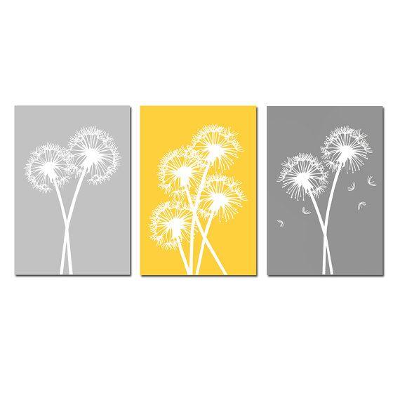 Modern Dandelion Trio Yellow and Grey  Set of Three by Tessyla