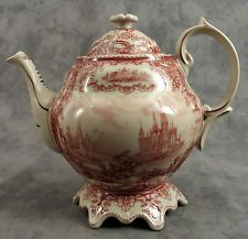 RED & CREAM TRANSFERWARE VICTORIAN COUNTRYSIDE TOILE TEAPOT ~ 48 OUNCE ~