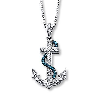 This blue and white diamond anchor necklace goes great with jeans and a tank or a summer sundress.