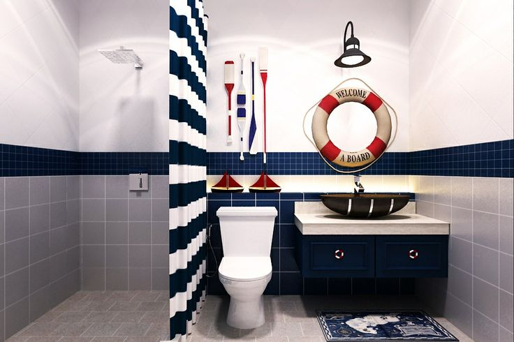 Nautical Boy S Bathroom Purple Bathroom Decor Bathroom Decor Apartment Small Bathroom Tiles