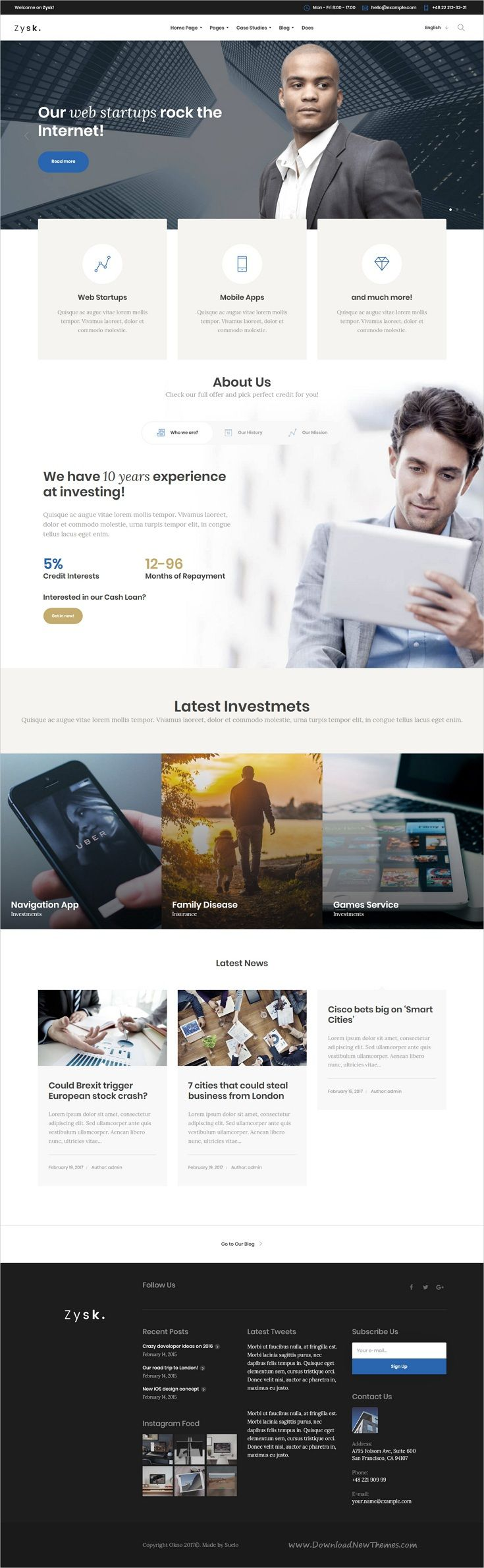 Zysk is smooth and stylish 7in1 responsive #WordPress theme for #investment, #business, finance and consulting services professional website download now..