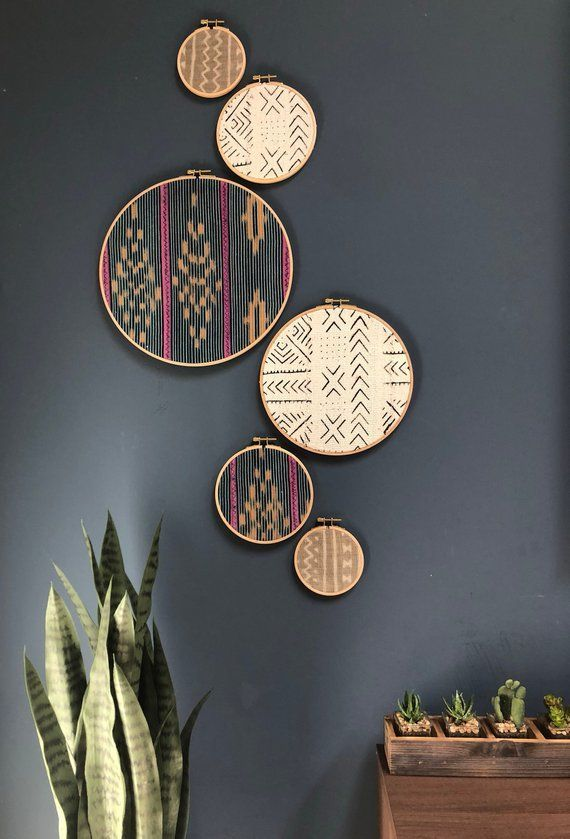 African Mudcloth Gallery Wall Hanging Decor Set, Wood Circle Frames Various Sizes, Modern Boho, Authentic Vintage Textile Art 6 Pieces