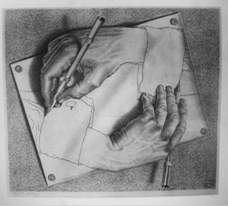 m c escher drawing hands