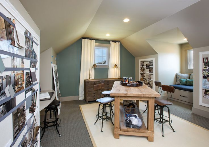 Rh Blue Sage Attic Homework Room Features Built In Window Seat Filling Nook Flanked By Large