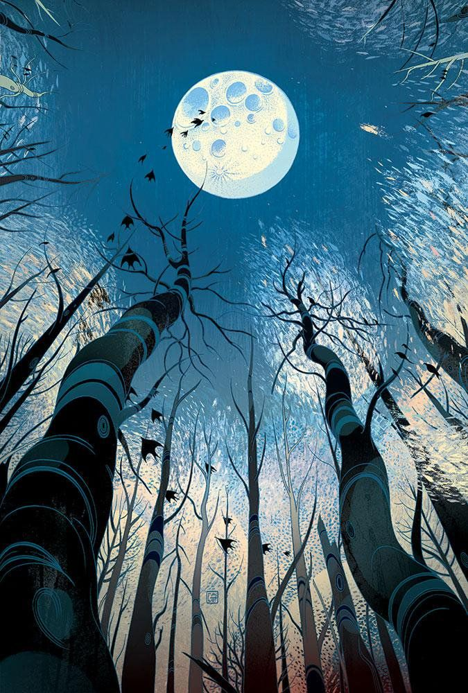 "A Lackadaisical Lexicon for Laggard Logophiles: PLENILUNE [noun] the full moon. Etymology: Latin plenilunium, from plenus, ""full"" + luna, ""moon"". [Victo Ngai - Barsk: The Elephants' Graveyard by Lawrence M. Schoen]"