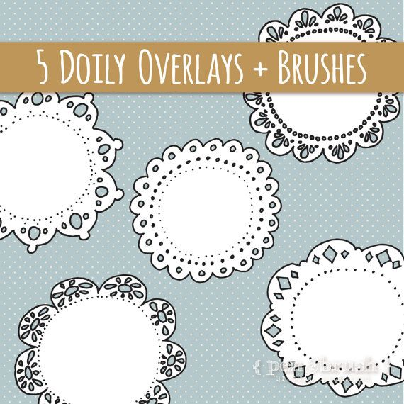 Cute Doily Clip Art Pack //  Hand Drawn Lace Doilies // Photoshop Brushes Stamps Overlays // Digital Vector Logo Elements // Commercial Use